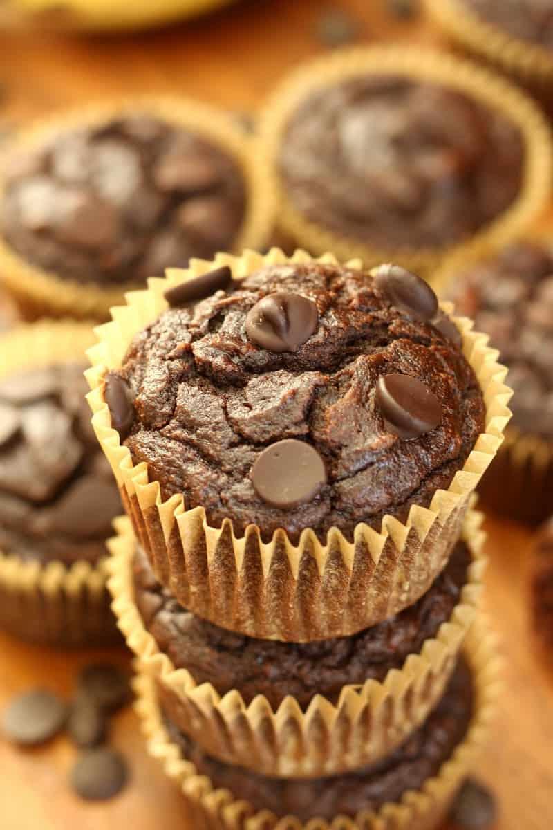 Chocolate chocolate chip banana muffins - gluten free, healthy, paleo, easy