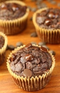 Chocolate chocolate chip banana muffins - grain free and paleo