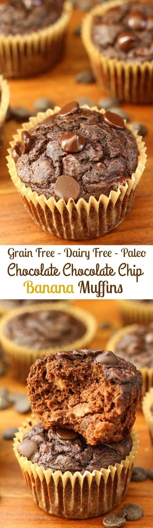 Chocolate chocolate chip banana muffins - grain free, dairy free, paleo, healthy!