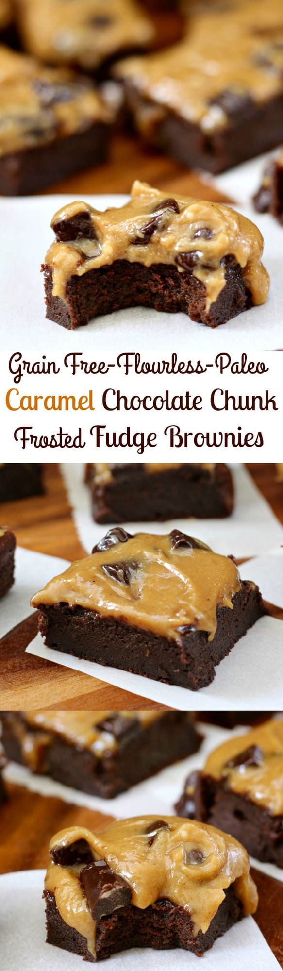 Flourless Paleo Caramel Chocolate Chunk Frosted Fudge Brownies - rich flourless dairy free fudge brownies with a creamy caramel chocolate chunk frosting!