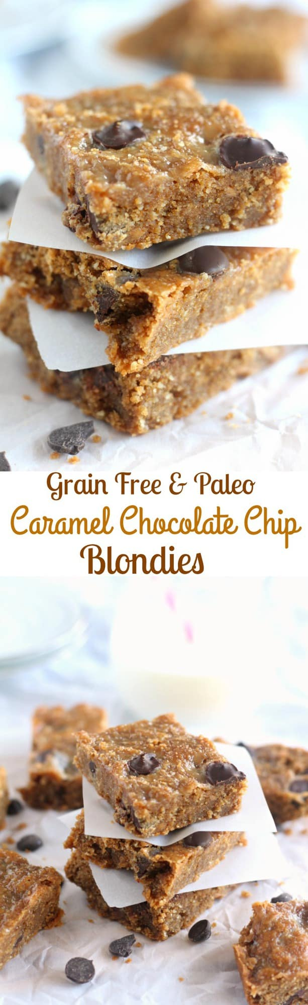 Grain Free And Paleo Caramel Chocolate Chip Blondies - Dairy free caramel is swirled into chocolate chip blondie batter for a rich yet healthy dessert!