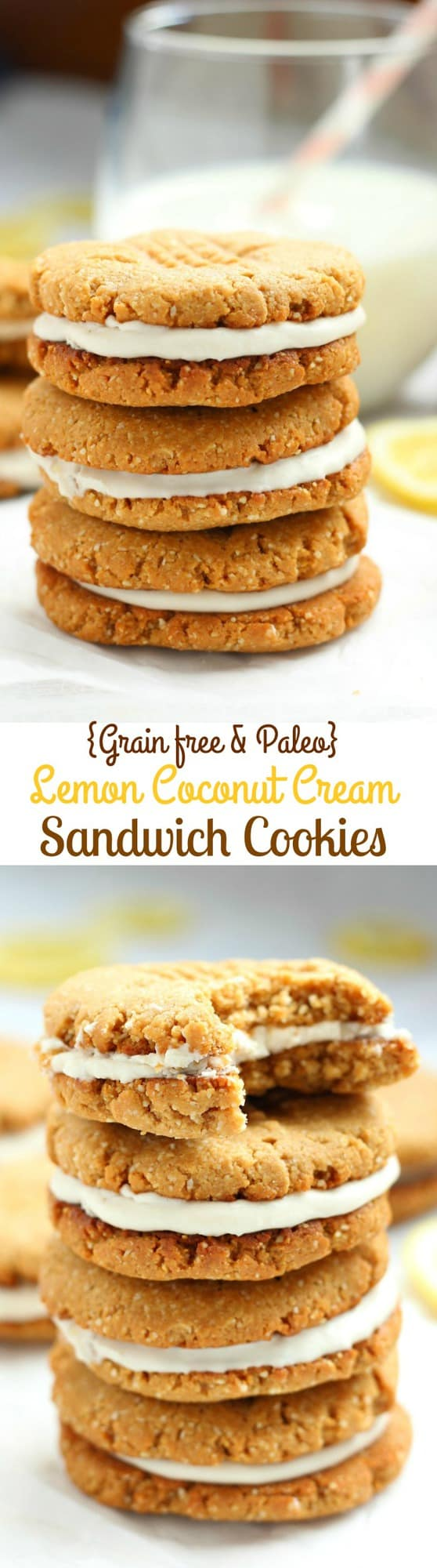 Lemon Coconut Cream Sandwich Cookies - gluten free, grain free, dairy free, paleo chewy cookies with creamy lemon coconut filling