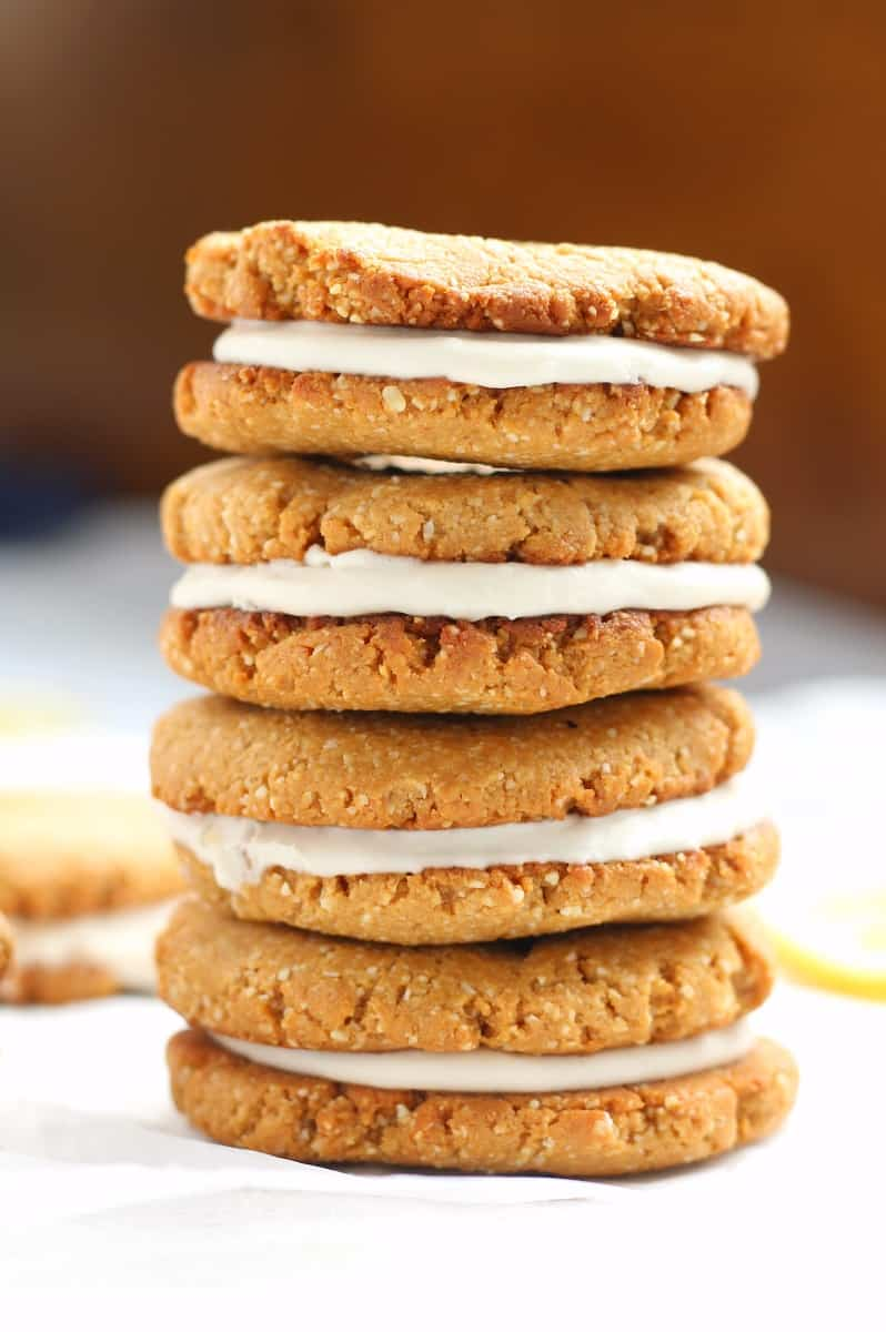 Lemon coconut cream sandwich cookies that are grain free, dairy free, and paleo