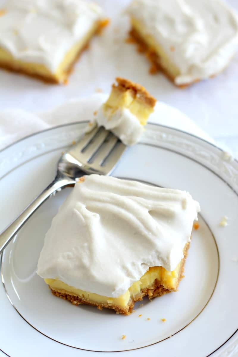 Triple Layer Paleo Lemon bars - gluten free and paleo with coconut whipped cream