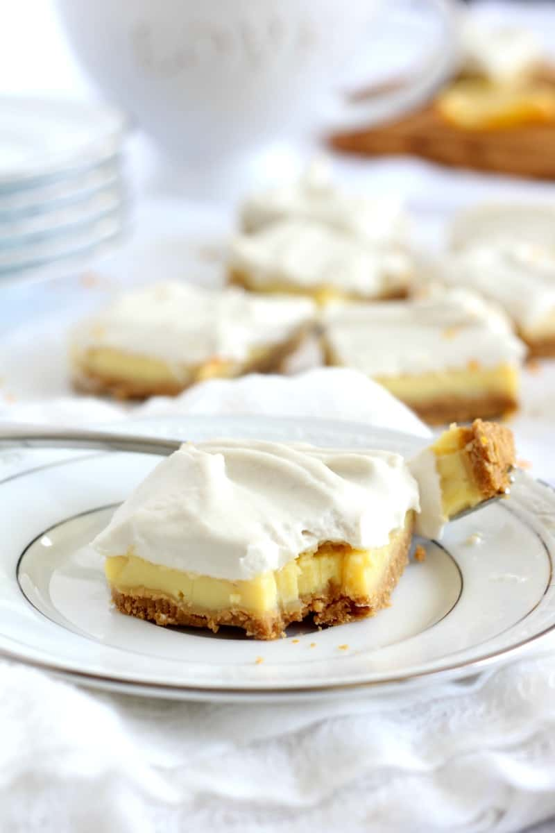 Triple Layer Paleo Lemon Bars - dairy free with coconut whipped cream