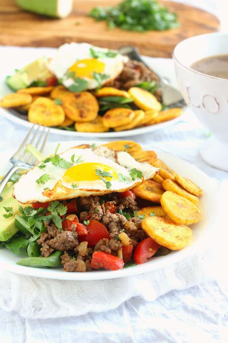 breakfast paleo taco salad with plantain chips
