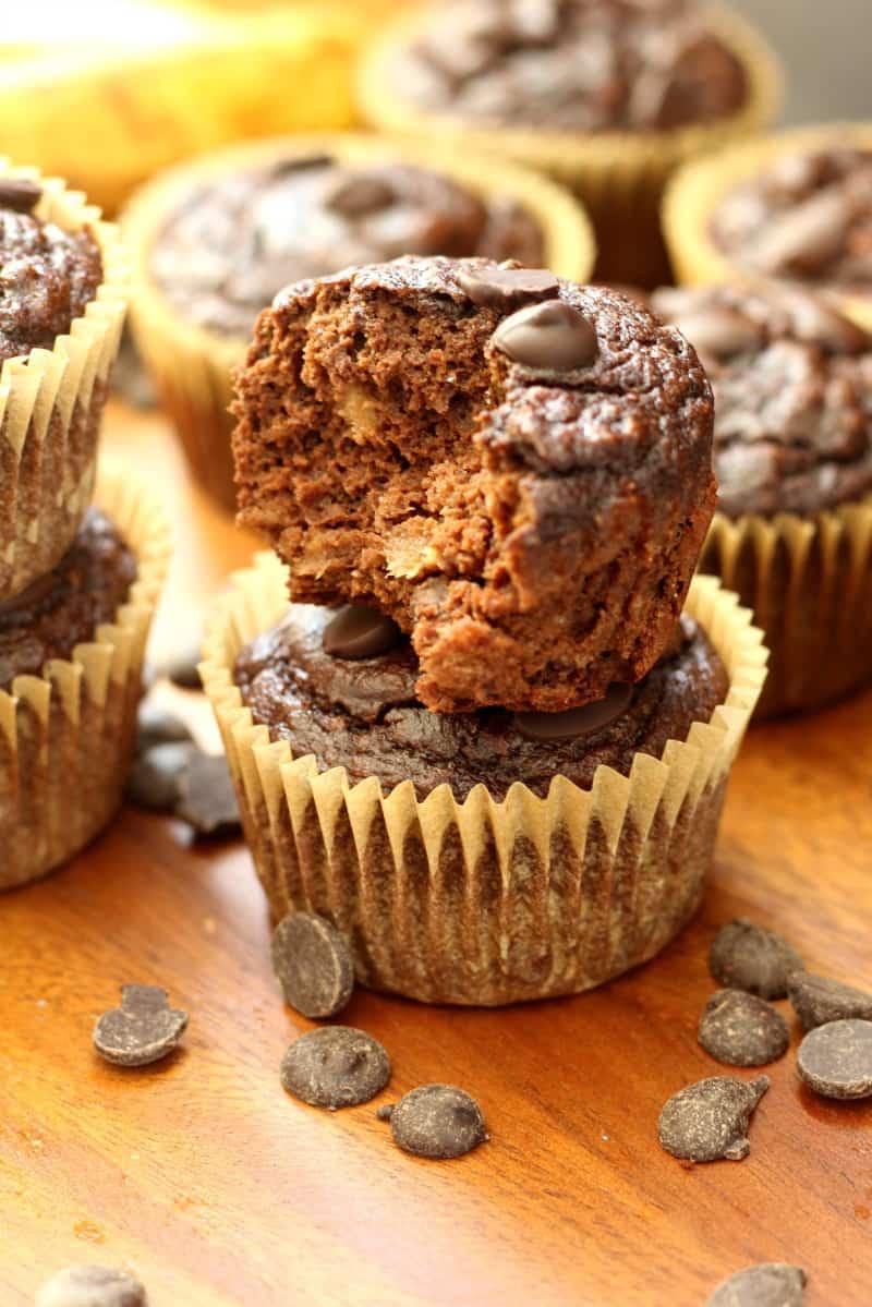 chocolate chocolate chip banana muffins - gluten free and paleo!
