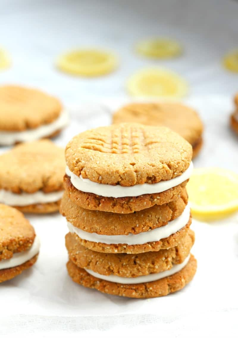 lemon coconut cream paleo and grain free sandwich cookies