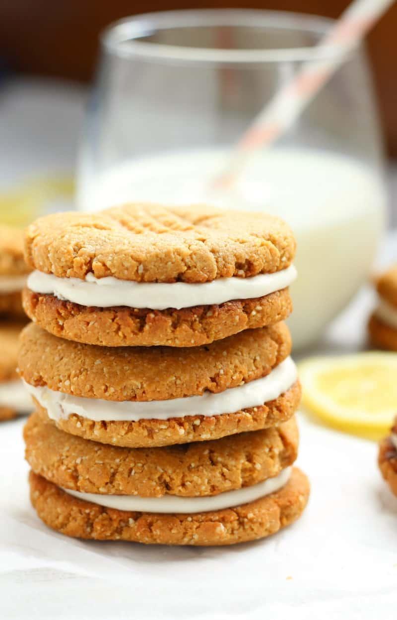 lemon coconut cream sandwich cookies - gluten free, dairy free, paleo