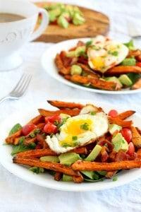 Smothered Breakfast Sweet Potato Fries {Paleo & Whole30}