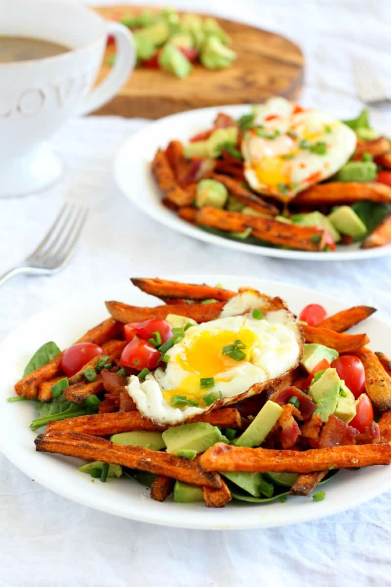 loaded breakfast sweet potato fries