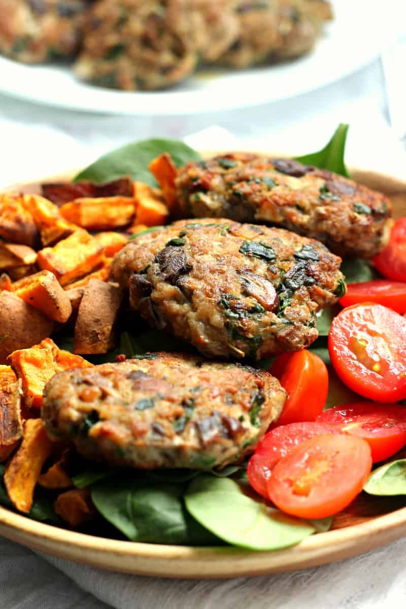 mushroom spinach paleo homemade sausage patties
