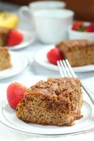 Strawberry Banana Coffee Cake with Crumb Top {Paleo}