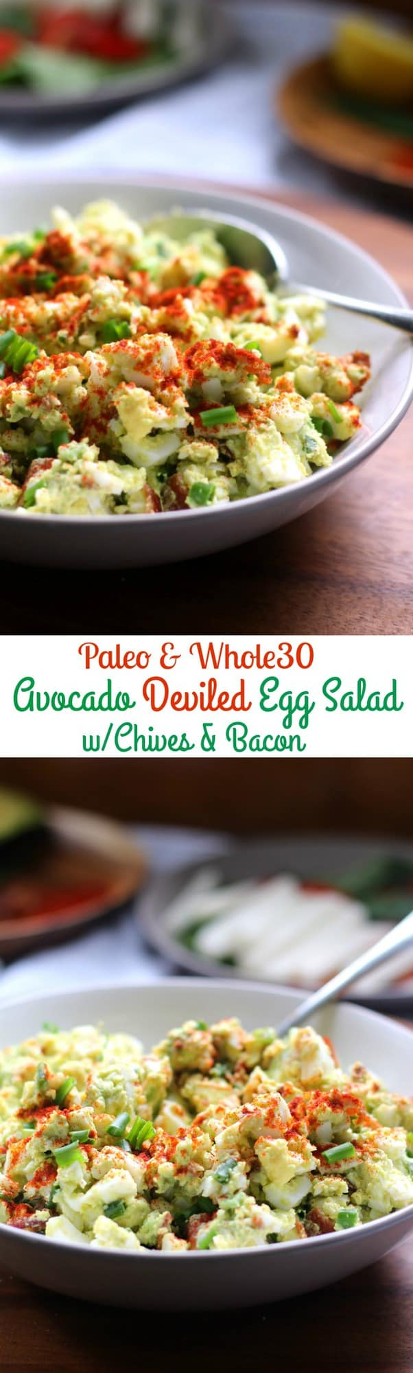 Deviled Avocado Egg Salad with Chives and Bacon - No Mayo! Creamy and healthy egg salad with bacon and chives