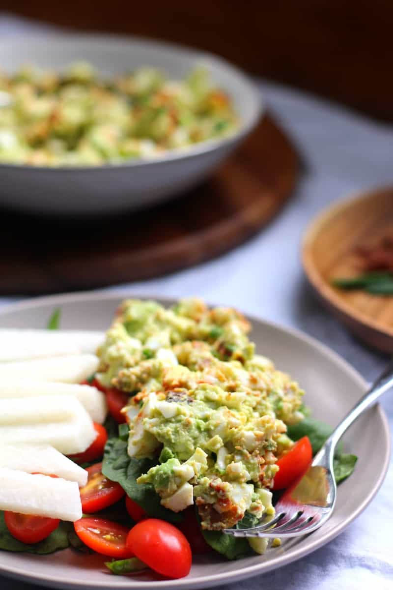 Deviled Avocado egg salad that's paleo and whole30 friendly plus mayo free