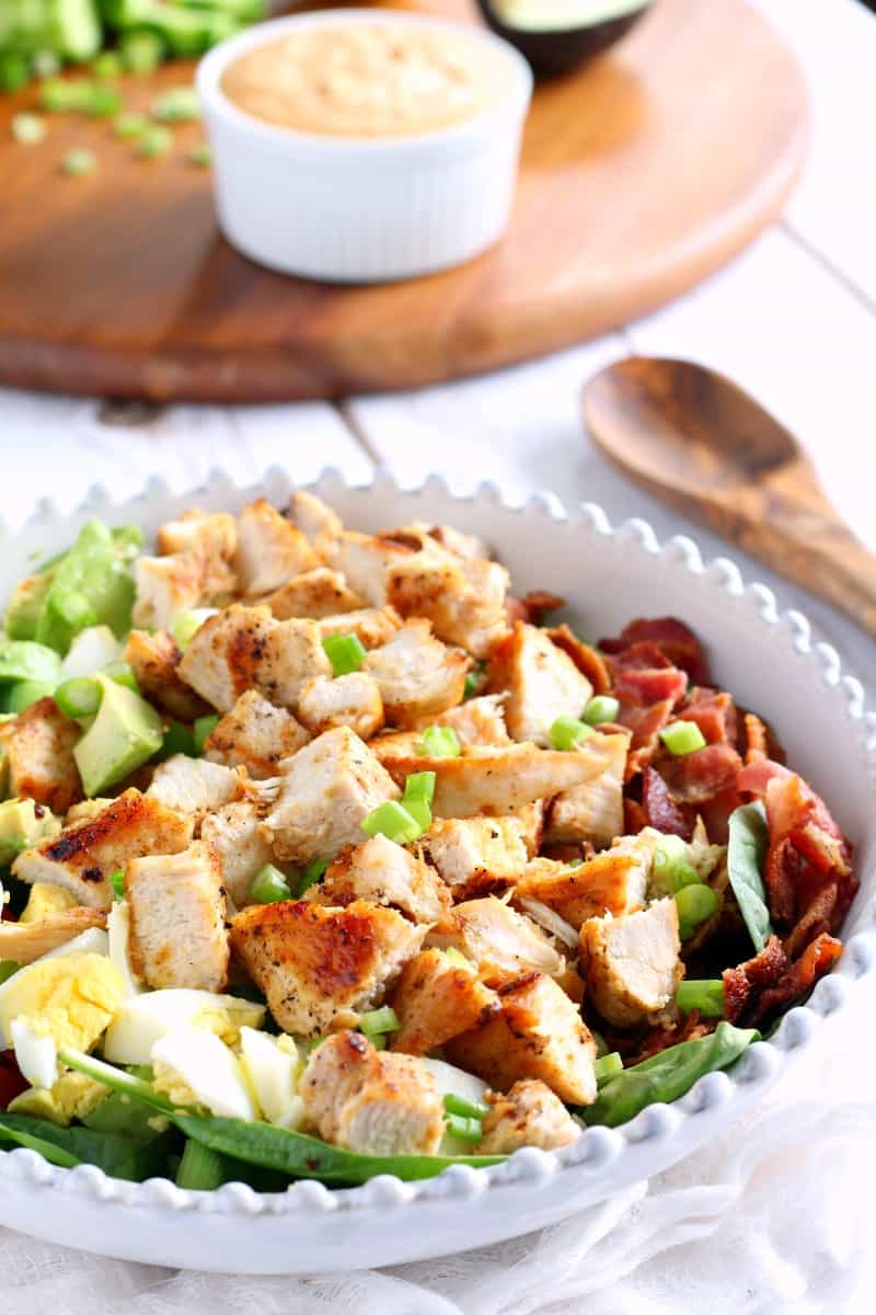 Chicken cobb salad with paleo buffalo ranch 2 ways