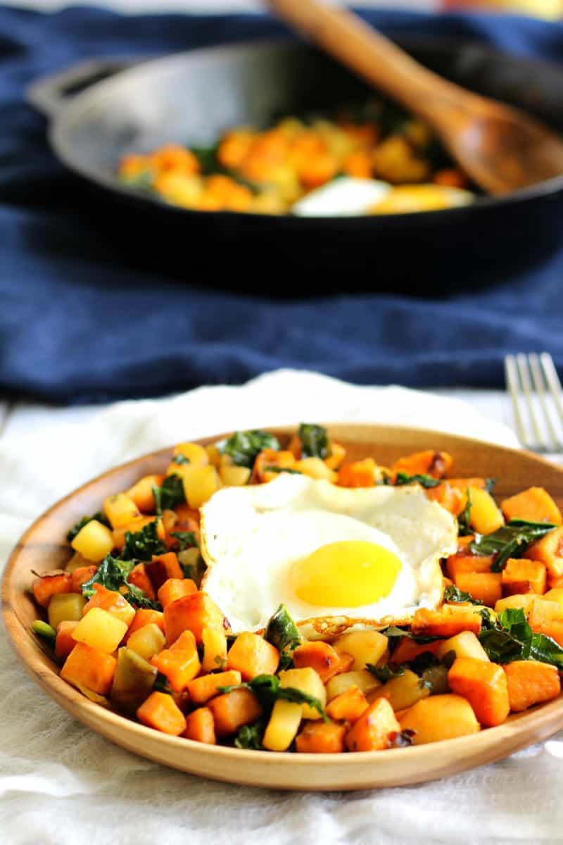 Sweet Potato Apple & Kale Hash with Caramelized Onions {Whole30}
