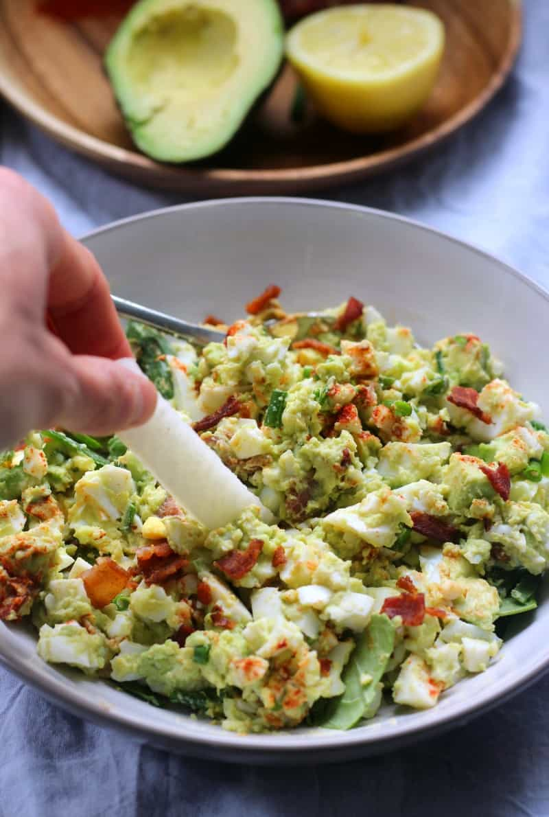 deviled avocado egg salad that's mayo free with bacon and chives. Paleo, whole30 friendly and soy free
