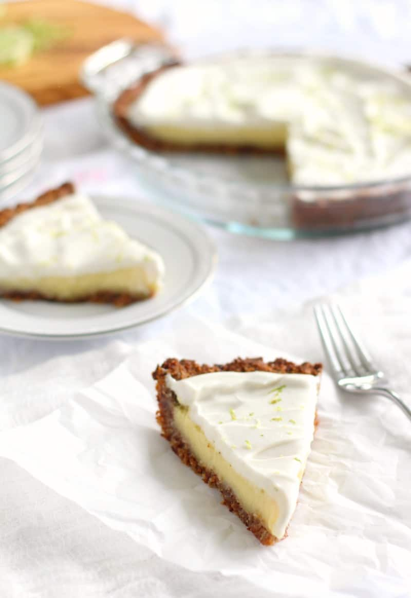 key lime pie - paleo and dairy free with coconut pecan crust