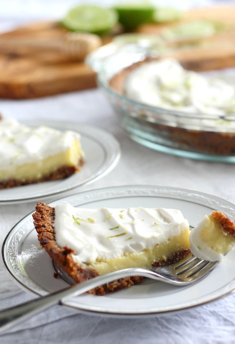 key lime pie with coconut whipped cream - paleo