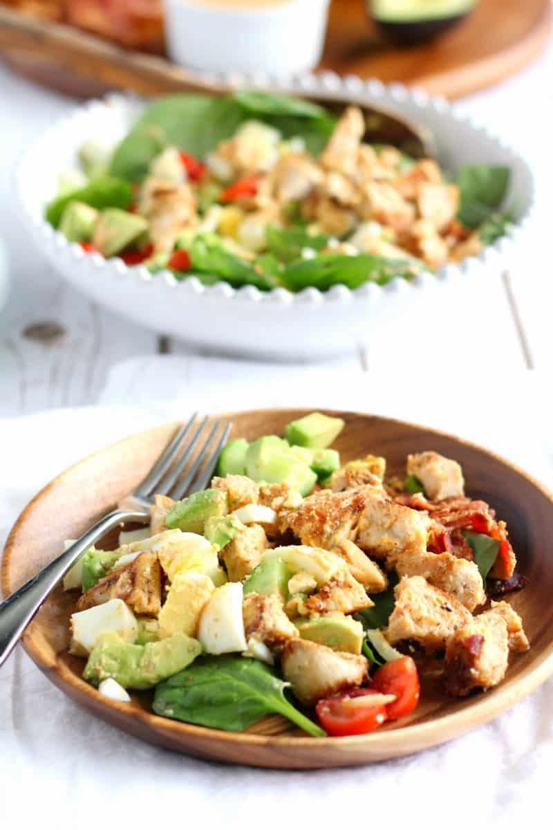paleo chicken cobb salad with homemade buffalo ranch