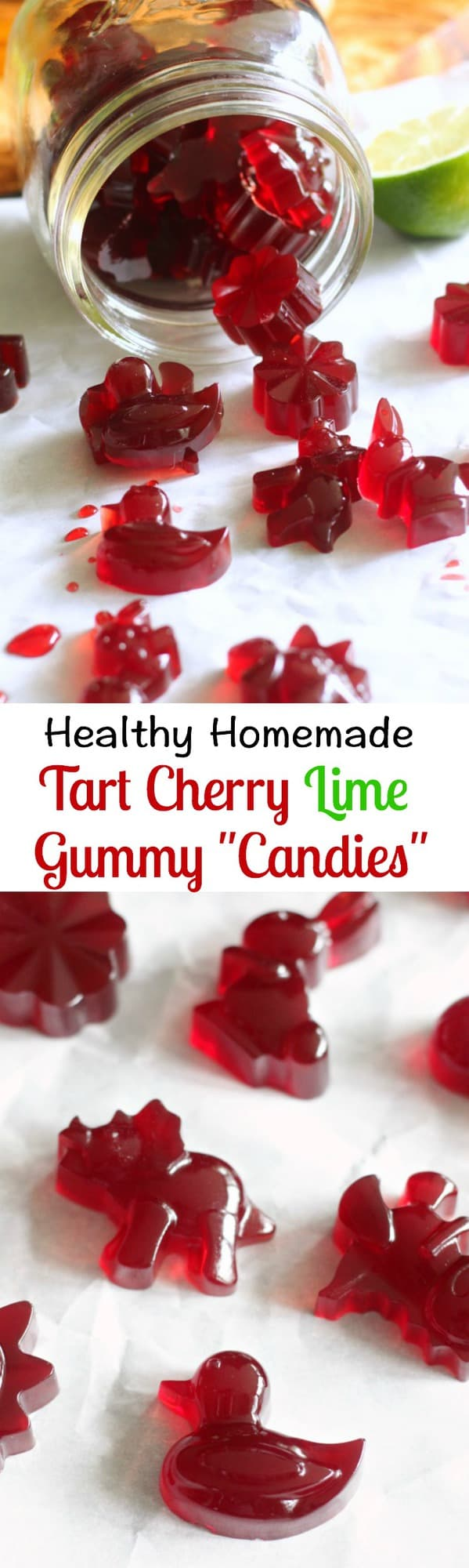 "This Tart Cherry Lime Homemade Gummy ""Candy"" is made with grass fed, pasture raised gelatin for a boost of immunity and gut healing powers!  This healthy homemade gummy candy is ultra kid friendly and great for grown-ups too.   Made with 100% tart cherry juice, raw honey and grass fed gelatin."