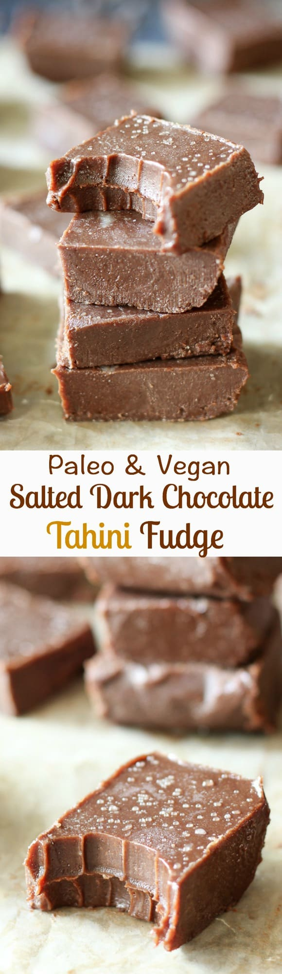 Paleo & Vegan salted dark chocolate tahini freezer fudge