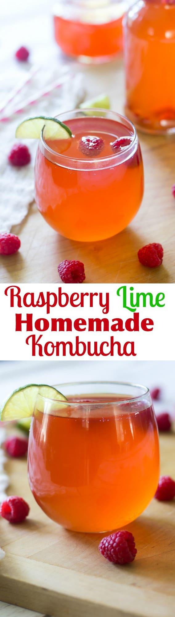 Raspberry Lime Homemade Kombucha