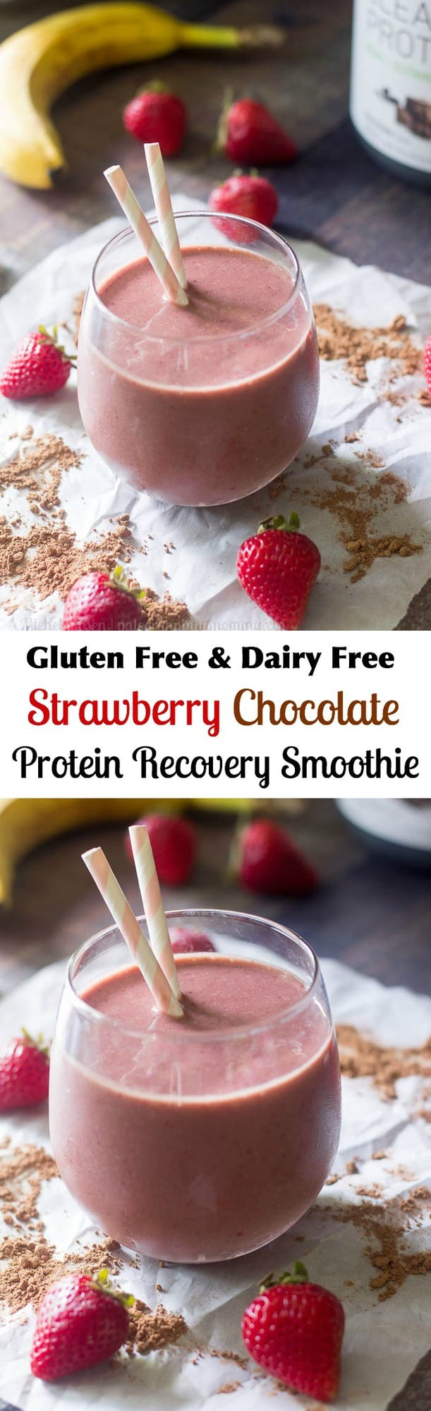 Strawberry Chocolate Protein Recovery Smoothie with @Vegafueled Chocolate Protein - dairy free, gluten free #ad