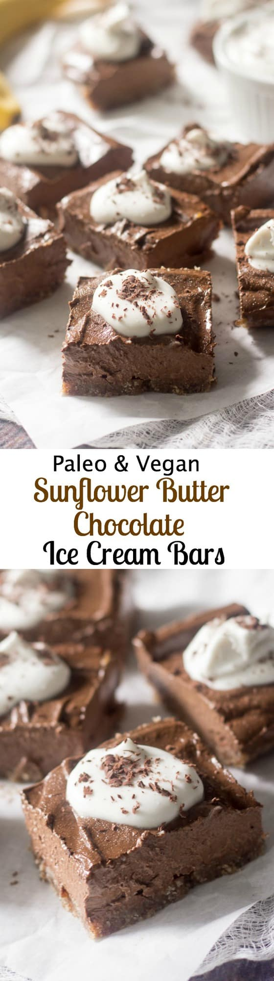 Sunflower butter banana chocolate ice cream bars on a pecan coconut crust - paleo and vegan!
