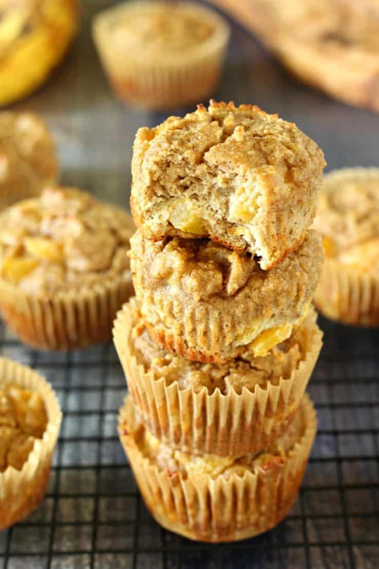 gluten free and paleo peach banana muffins