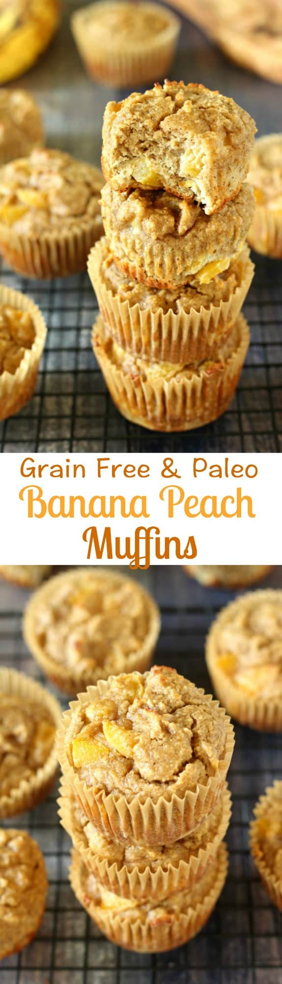 grain free and paleo banana peach muffins - healthy and bursting with sweet banana peach flavor - healthy paleo muffins for breakfast or snack
