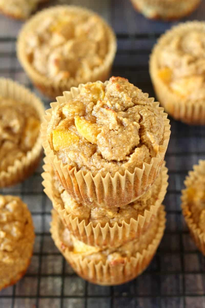 grain free and paleo banana peach muffins