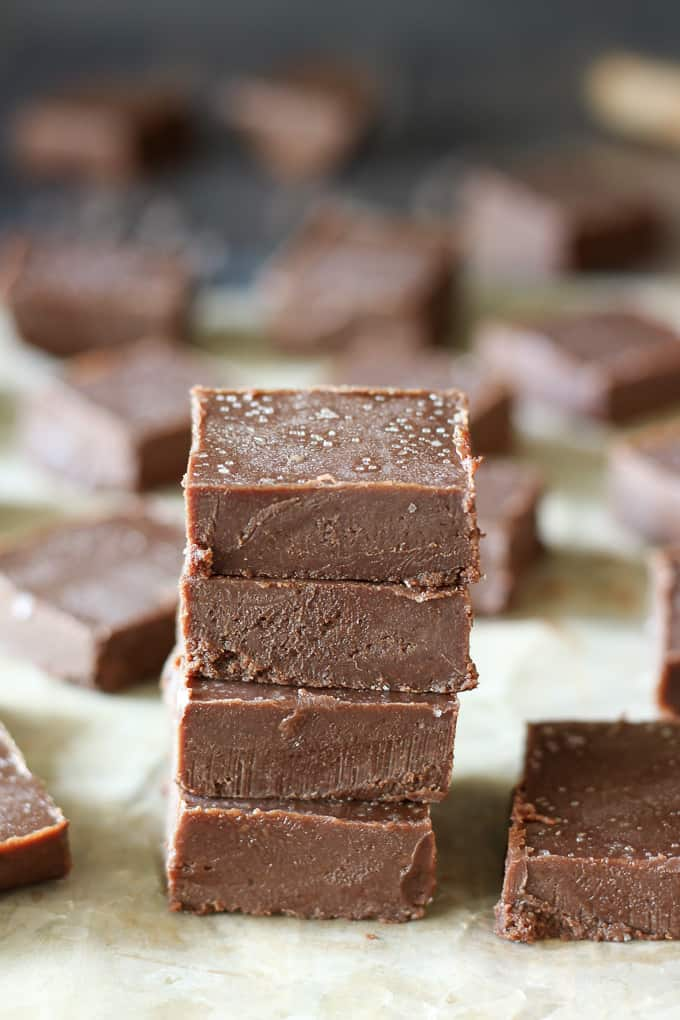 salted chocolate tahini fudge-6