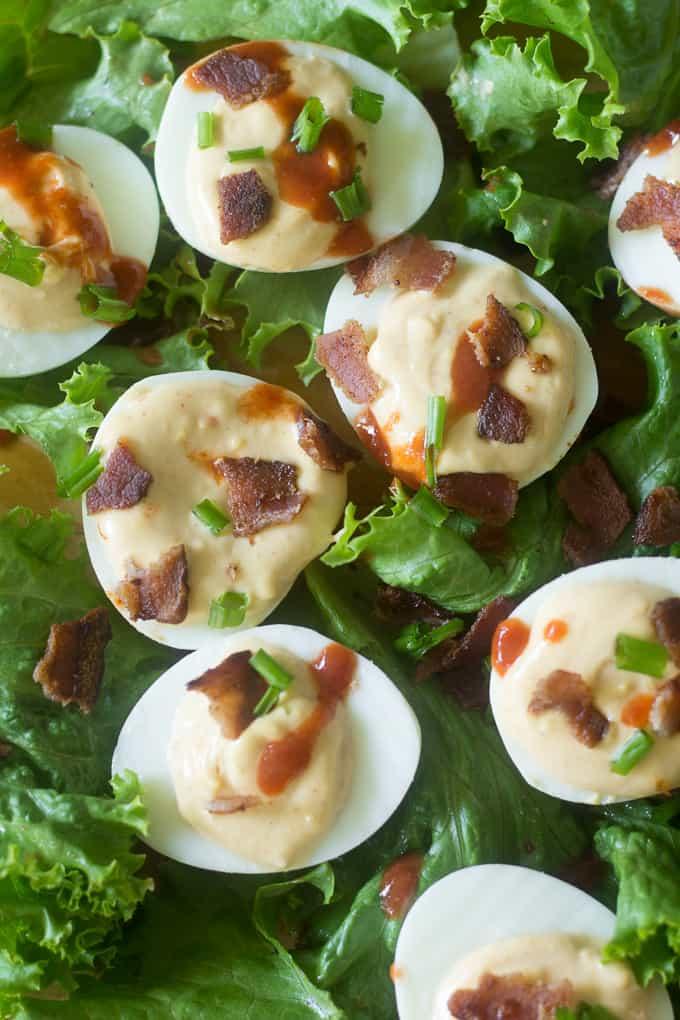 Pickled Onion & Sriracha Deviled Eggs Recipe — Dishmaps