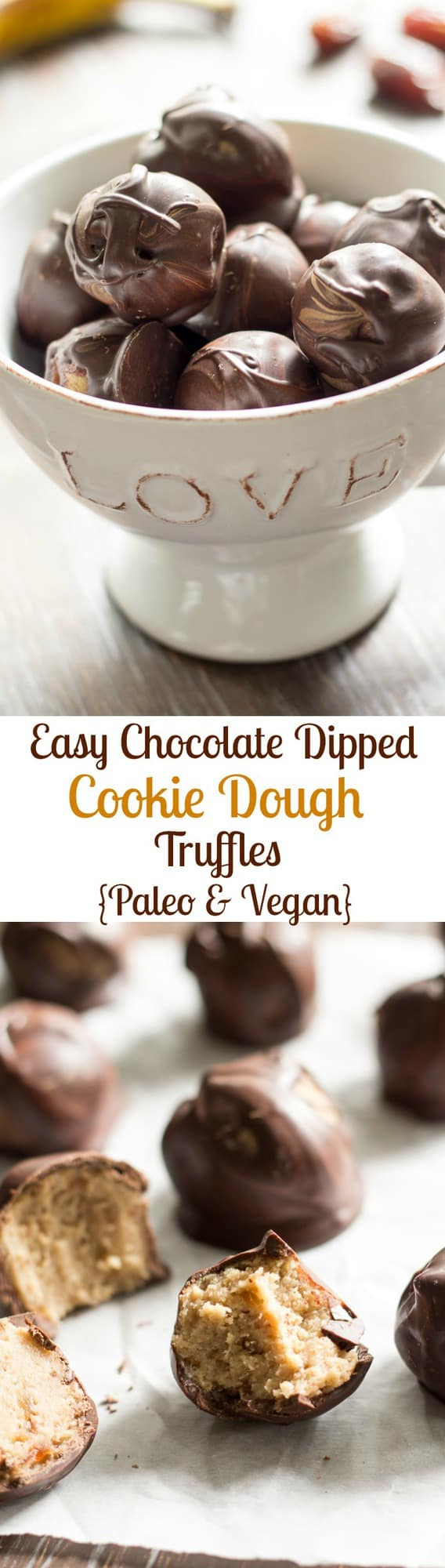 Easy chocolate dipped cookie dough truffles made with healthy ingredients yet taste absolutely indulgent! Paleo and vegan friendly, no refined sugar