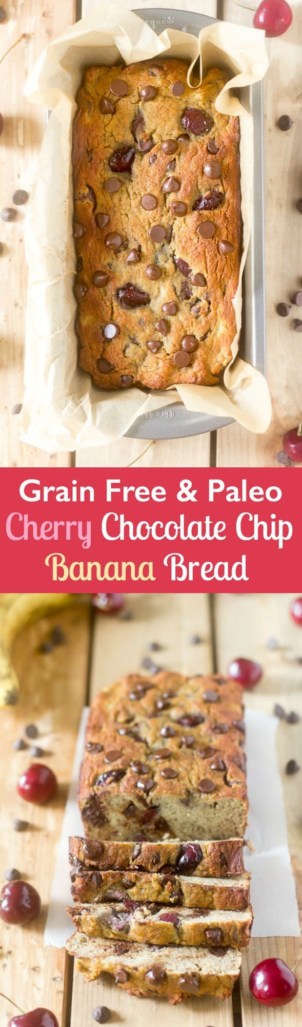 Grain free and Paleo Cherry Chocolate Chip Banana bread that's also nut free and perfect for breakfast or a snack. Very kid friendly!