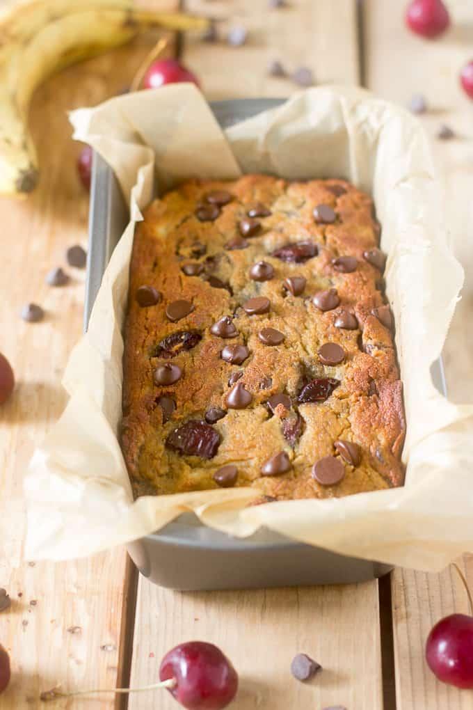 cherry chocolate chip banana bread-6
