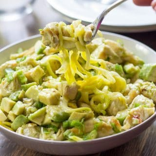 Zucchini Pasta with Chicken and Scallion Avocado Sauce {Whole30}