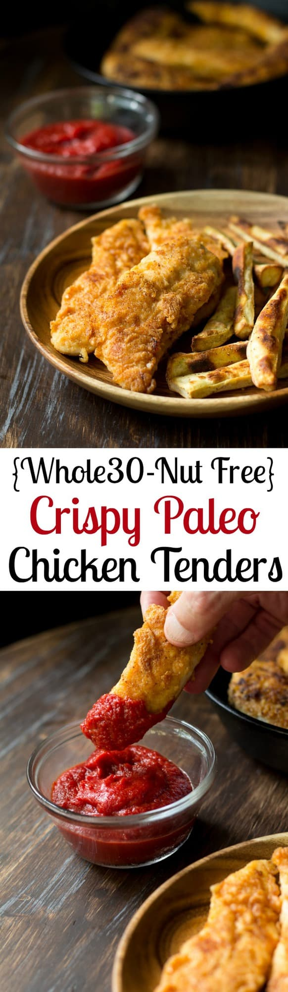 Crispy Paleo Chicken Tenders that are Whole30 friendly, and %22breaded%22 with a savory mixture of cassava, coconut flour and spices for amazing grain free, nut free crispy chicken tenders!