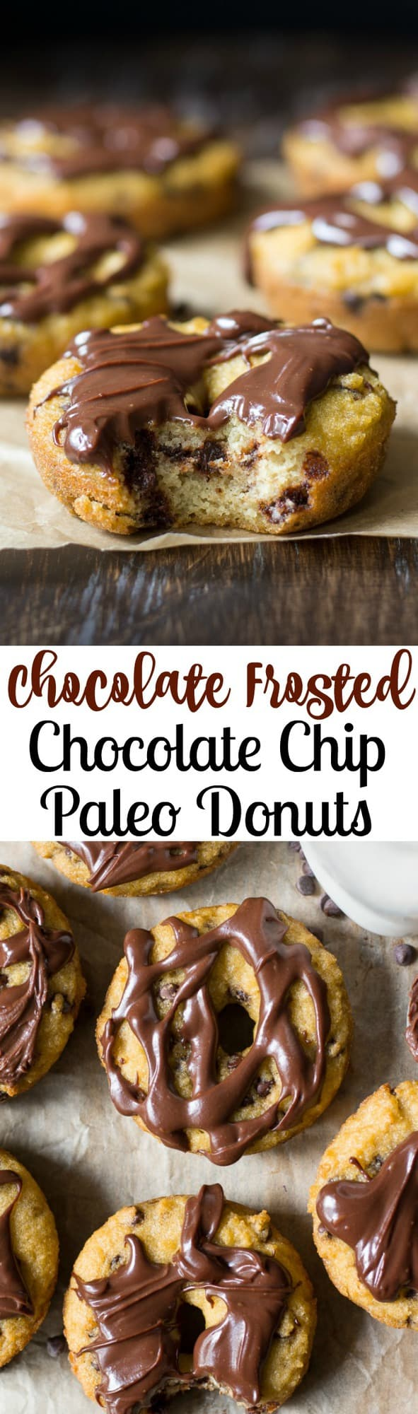 Grain Free and Paleo donuts with chocolate chips and rich chocolate ganache frosting