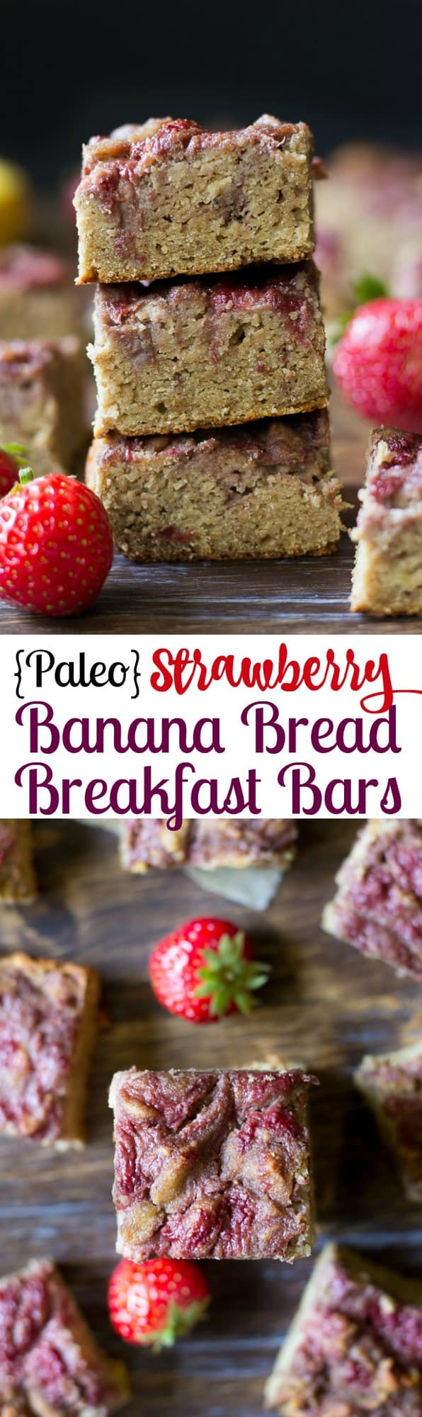 Paleo Strawberry Banana Bread Breakfast Bars that are grain free, Paleo, seriously delicious and very kid friendly! #Stopandshop #betterforyou #ad