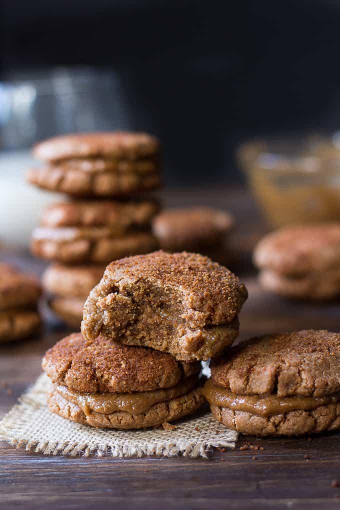 almond butter snickerdoodle sandwich cookies-5