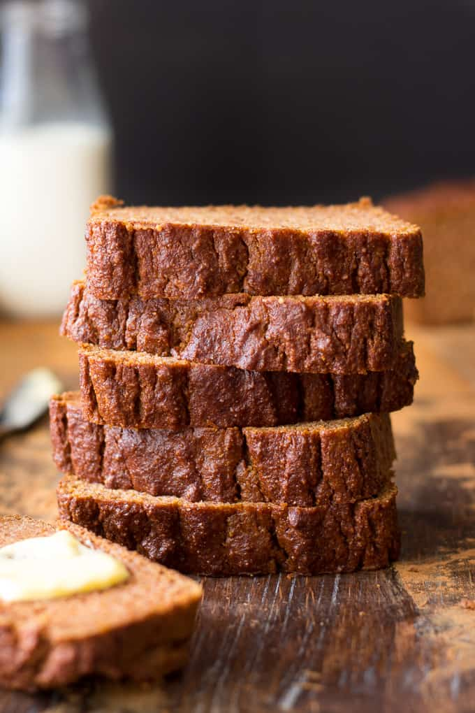 closeup view of a stack of five pumpkin bread slices