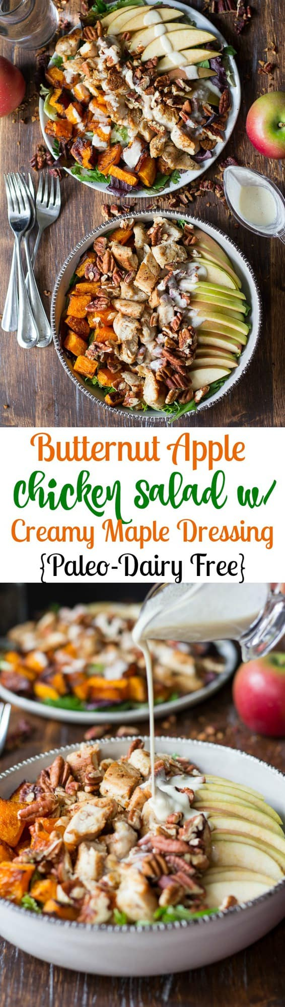 Paleo Roasted Butternut Apple Chicken Salad topped with crunchy pecans and creamy maple cider dressing - gluten free, dairy free, Paleo