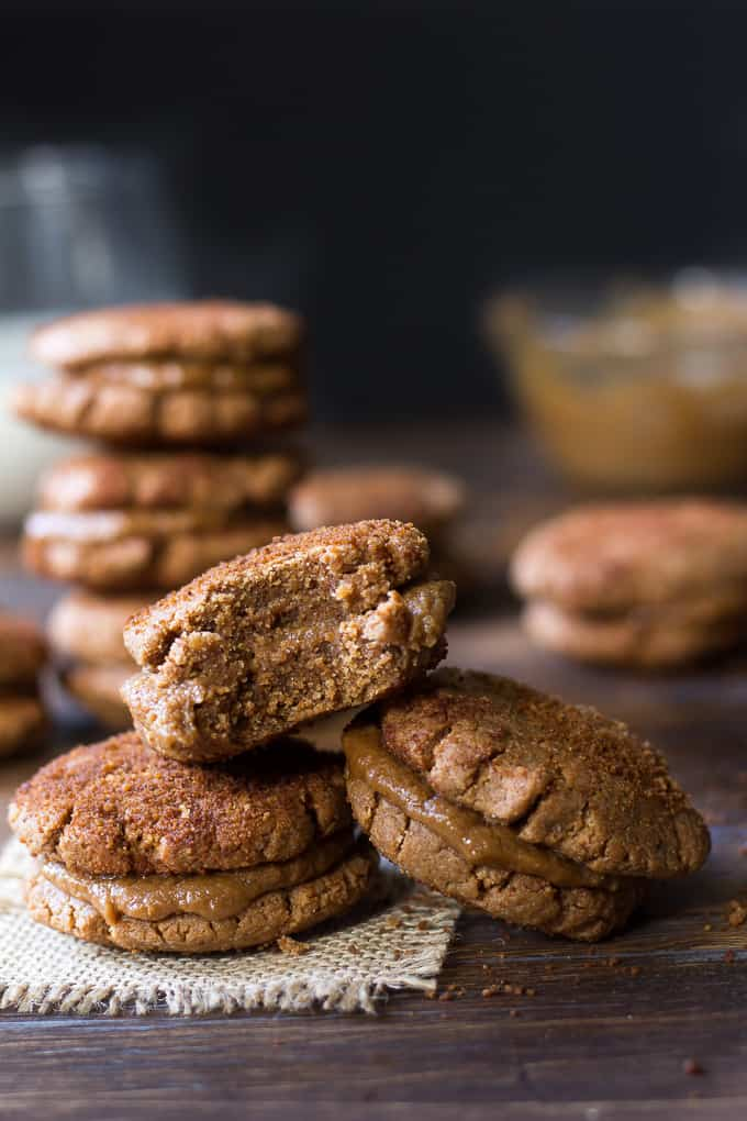 Paleo Almond Butter Snickerdoodle Sandwich Cookies