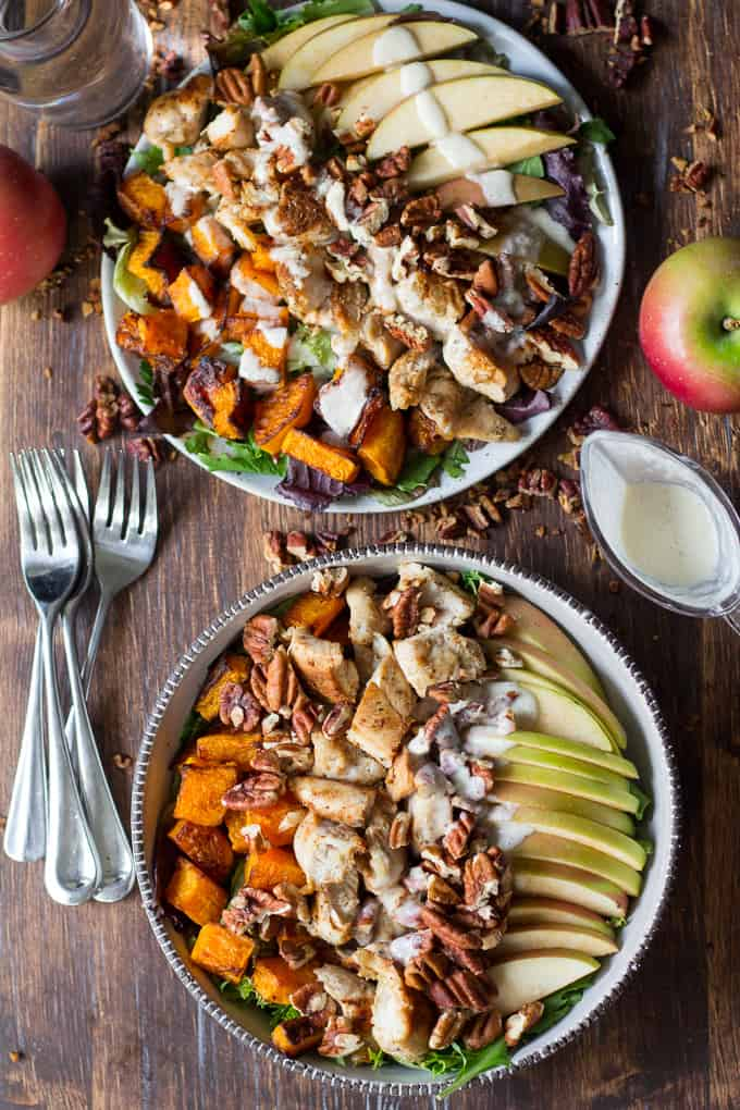 Paleo Butternut Apple Chicken Salad w/Creamy Maple Dressing