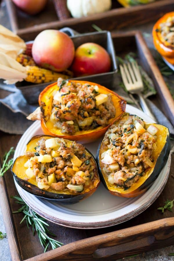 Hearty Caramelized Onion Apple Sausage Stuffed Acorn Squash