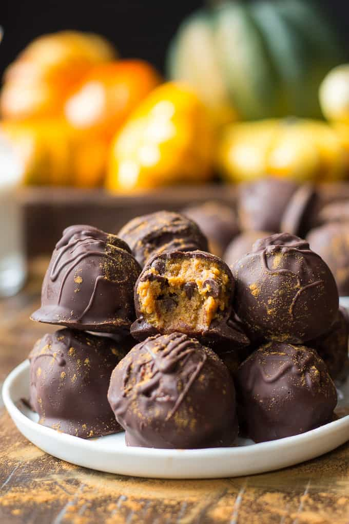 Pumpkin Chocolate Chip Cookie Dough Truffles {Paleo & Vegan}