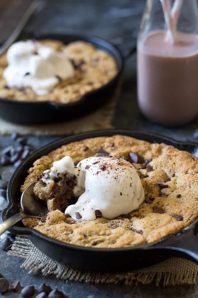 Paleo Chocolate Chip Skillet Cookies